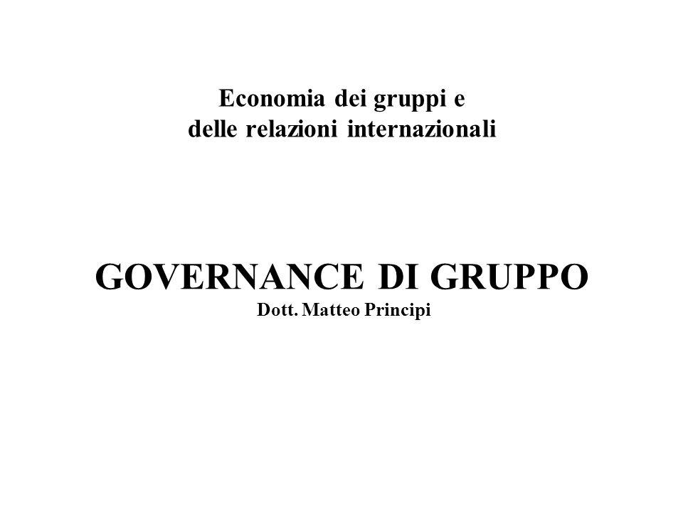 GOVERNANCE DI GRUPPO Dott. Matteo Principi Economia dei gruppi e delle relazioni internazionali