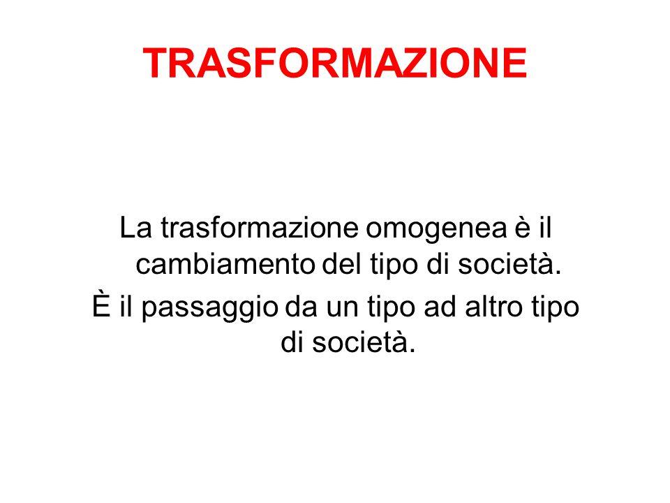 TRASFORMAZIONE La trasformazione omogenea è il cambiamento del tipo di società.
