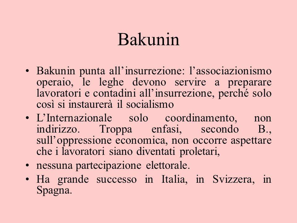Bakunin Bakunin punta all'insurrezione: l'associazionismo operaio, le leghe devono servire a preparare lavoratori e contadini all'insurrezione, perché