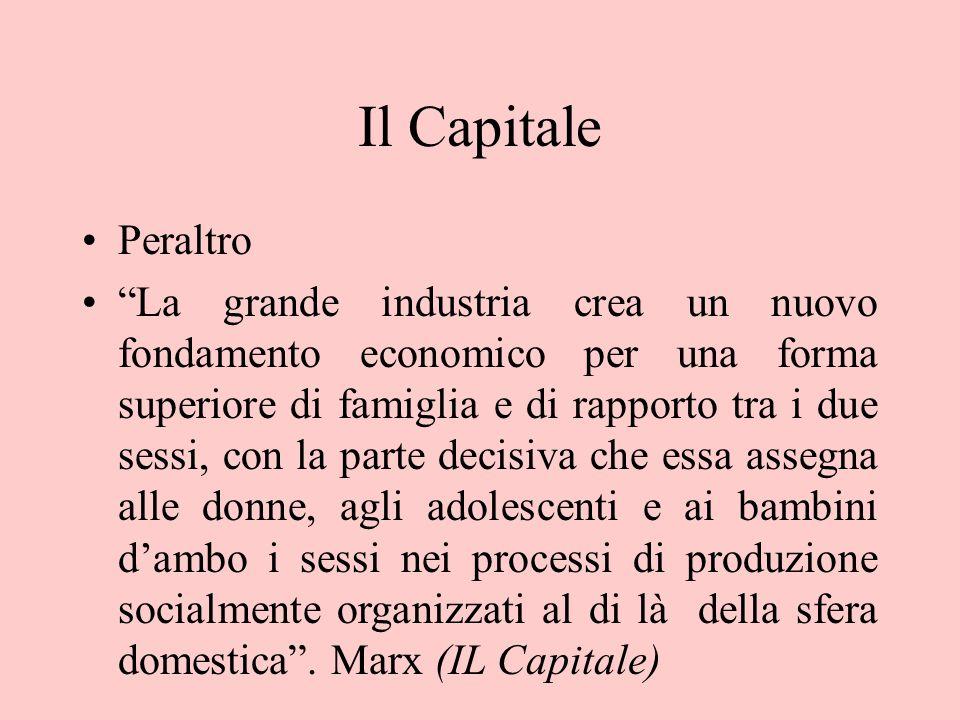 """Il Capitale Peraltro """"La grande industria crea un nuovo fondamento economico per una forma superiore di famiglia e di rapporto tra i due sessi, con la"""