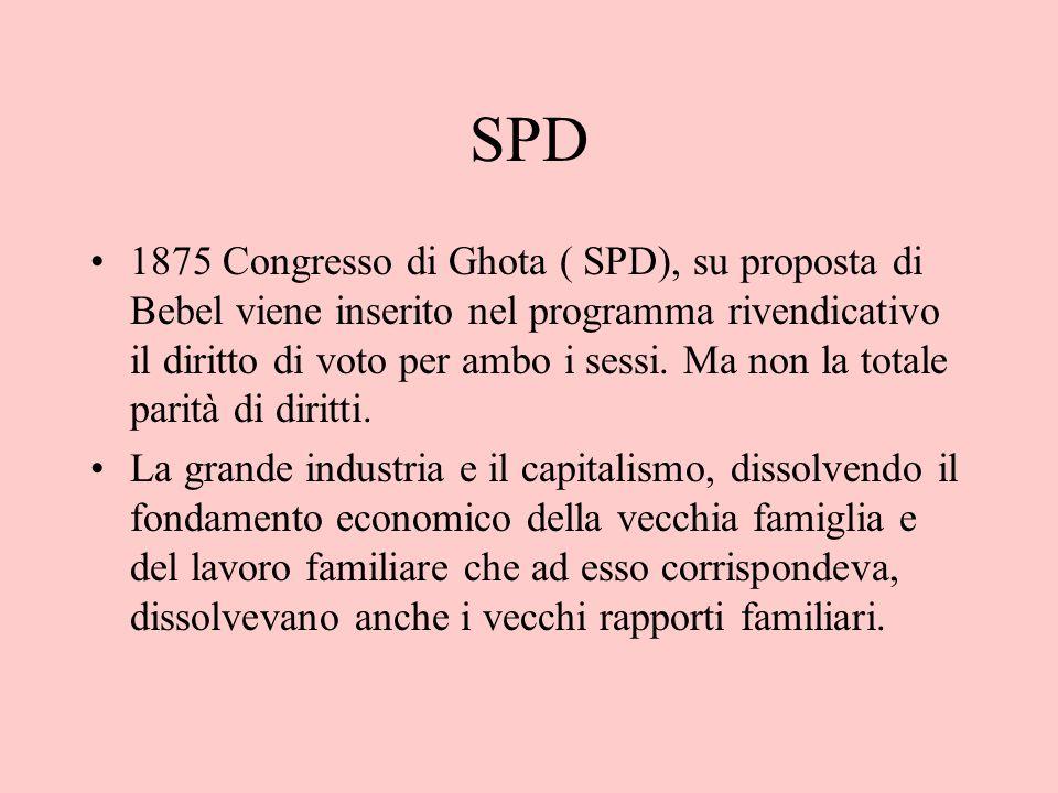 SPD 1875 Congresso di Ghota ( SPD), su proposta di Bebel viene inserito nel programma rivendicativo il diritto di voto per ambo i sessi. Ma non la tot