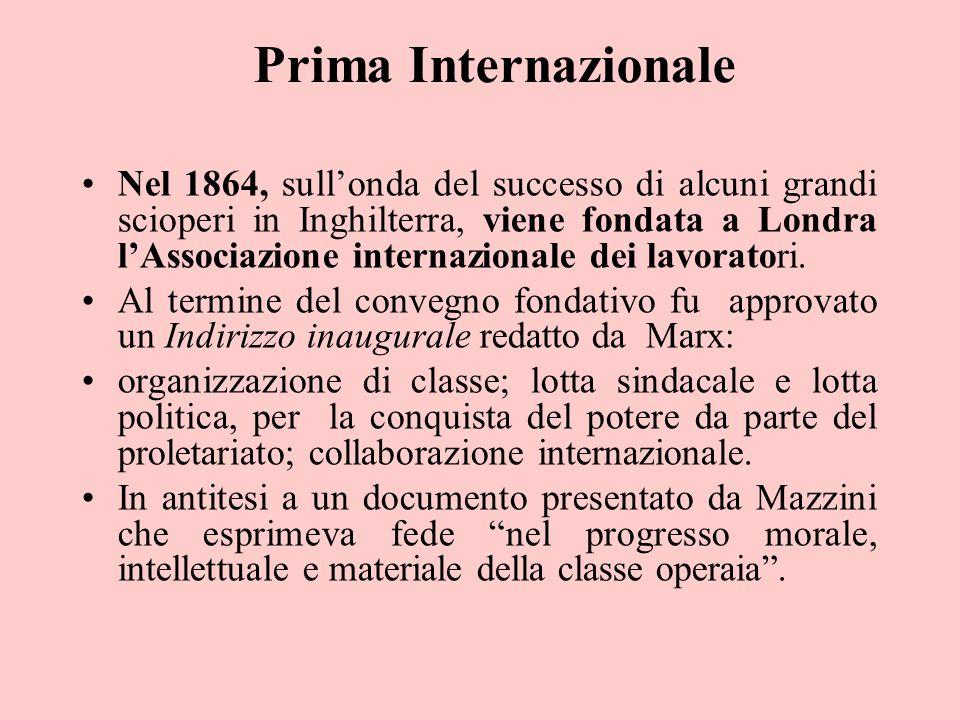 Prima Internazionale Nel 1864, sull'onda del successo di alcuni grandi scioperi in Inghilterra, viene fondata a Londra l'Associazione internazionale d