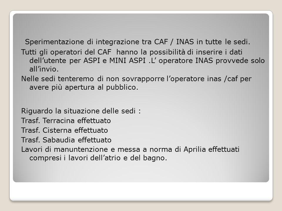 Sperimentazione di integrazione tra CAF / INAS in tutte le sedi.