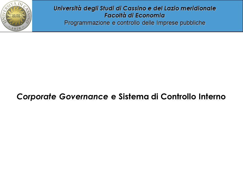 Università degli Studi di Cassino e del Lazio meridionale Facoltà di Economia Programmazione e controllo delle Imprese pubbliche Internal Audit Associato con il terzo livello dei controlli, è la cosiddetta ultima linea di difesa del sistema dei controlli d'azienda.