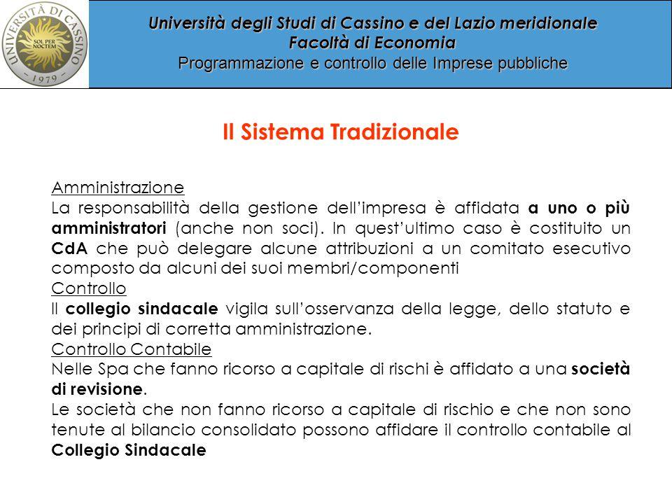 Università degli Studi di Cassino e del Lazio meridionale Facoltà di Economia Programmazione e controllo delle Imprese pubbliche Il Sistema Tradizionale Amministrazione La responsabilità della gestione dell'impresa è affidata a uno o più amministratori (anche non soci).