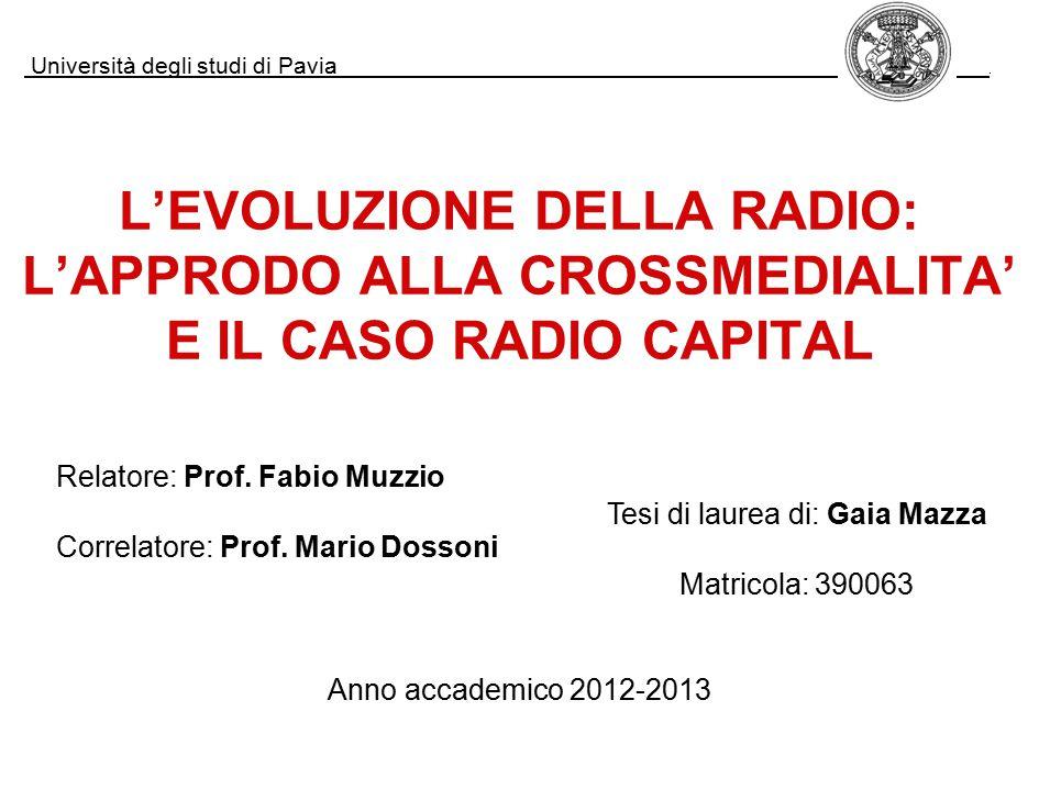 L'EVOLUZIONE DELLA RADIO: L'APPRODO ALLA CROSSMEDIALITA' E IL CASO RADIO CAPITAL Università degli studi di Pavia.