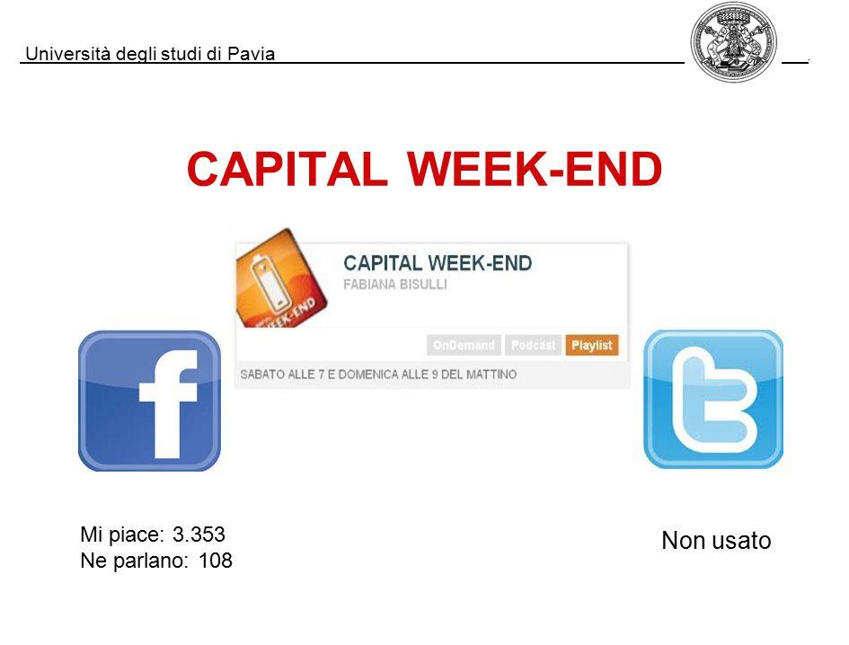 Università degli studi di Pavia. CAPITAL WEEK-END Mi piace: 3.353 Ne parlano: 108 Non usato