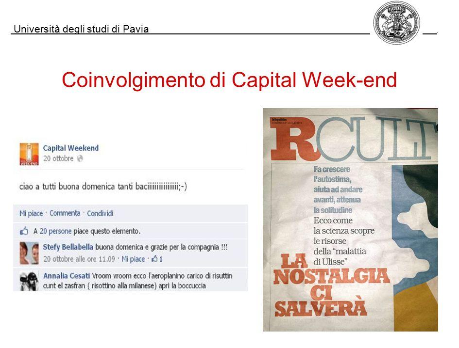 Università degli studi di Pavia. Coinvolgimento di Capital Week-end