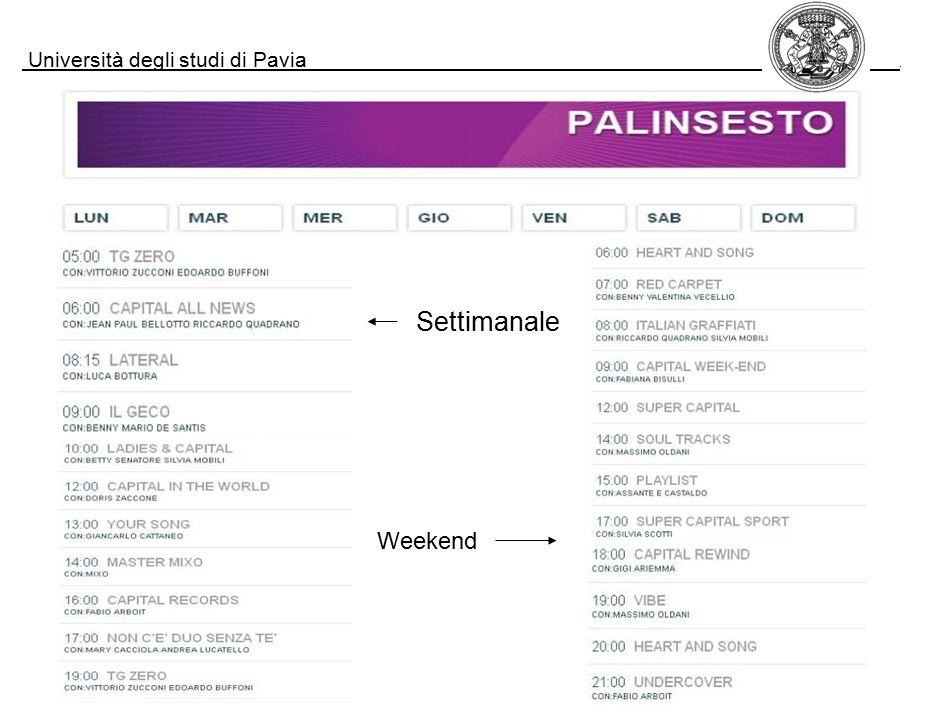 Università degli studi di Pavia. Settimanale Weekend