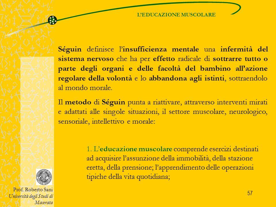 57 Séguin definisce l'insufficienza mentale una infermità del sistema nervoso che ha per effetto radicale di sottrarre tutto o parte degli organi e de