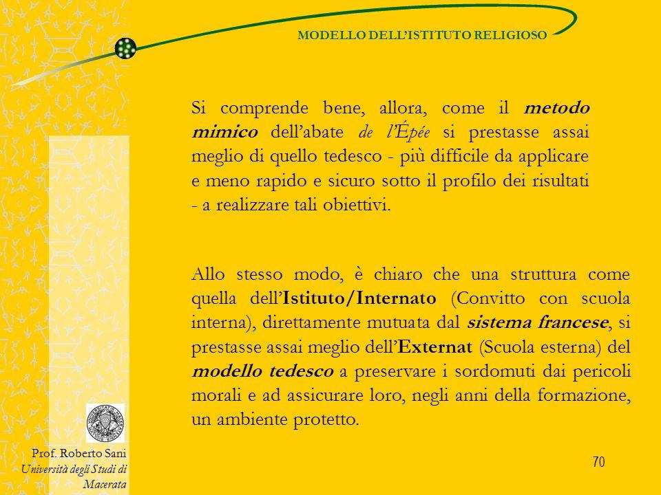 70 MODELLO DELL'ISTITUTO RELIGIOSO Prof. Roberto Sani Università degli Studi di Macerata Si comprende bene, allora, come il metodo mimico dell'abate d
