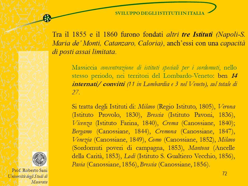 72 SVILUPPO DEGLI ISTITUTI IN ITALIA Prof. Roberto Sani Università degli Studi di Macerata Tra il 1855 e il 1860 furono fondati altri tre Istituti (Na