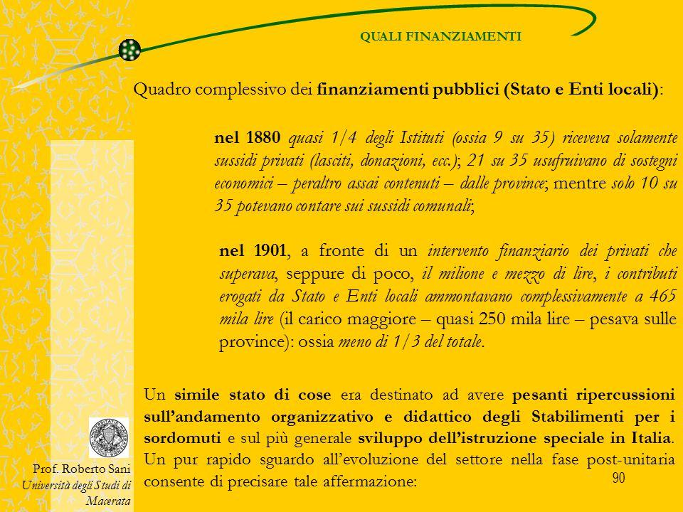 90 QUALI FINANZIAMENTI Prof. Roberto Sani Università degli Studi di Macerata Quadro complessivo dei finanziamenti pubblici (Stato e Enti locali): nel