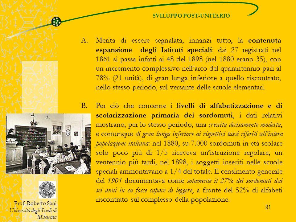 91 SVILUPPO POST-UNITARIO Prof. Roberto Sani Università degli Studi di Macerata A.Merita di essere segnalata, innanzi tutto, la contenuta espansione d