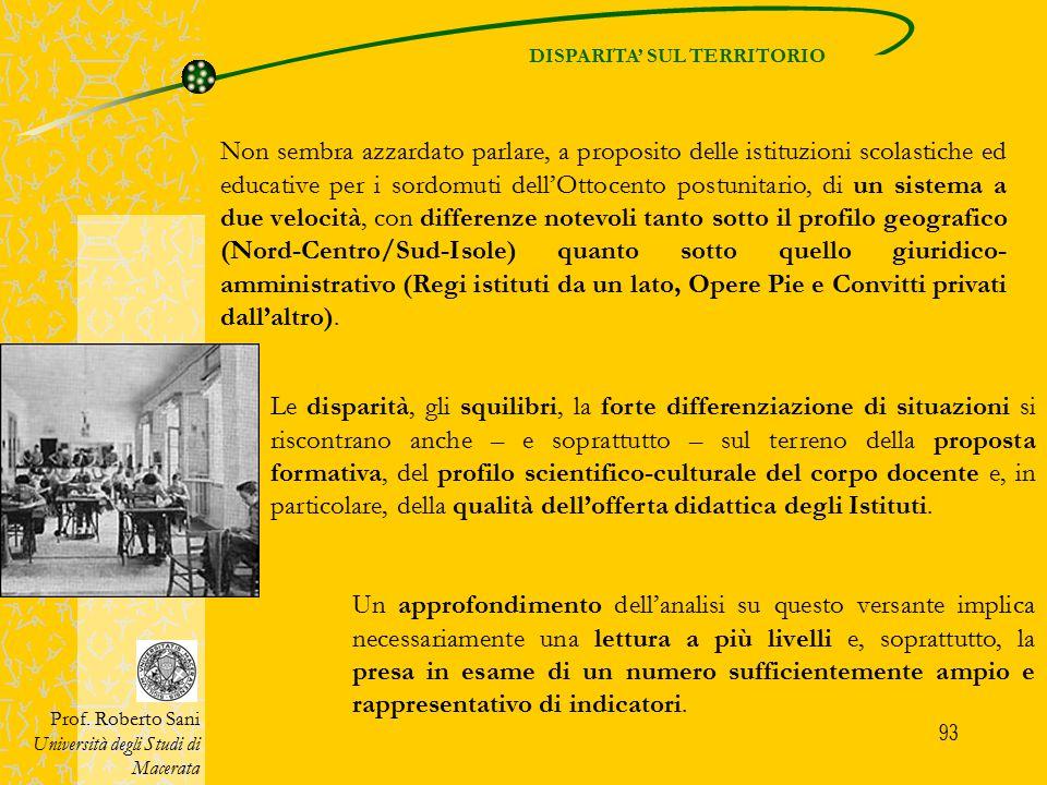 93 DISPARITA' SUL TERRITORIO Prof. Roberto Sani Università degli Studi di Macerata Non sembra azzardato parlare, a proposito delle istituzioni scolast