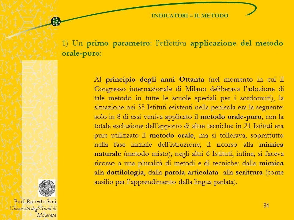 94 INDICATORI = IL METODO Prof. Roberto Sani Università degli Studi di Macerata 1) Un primo parametro: l'effettiva applicazione del metodo orale-puro: