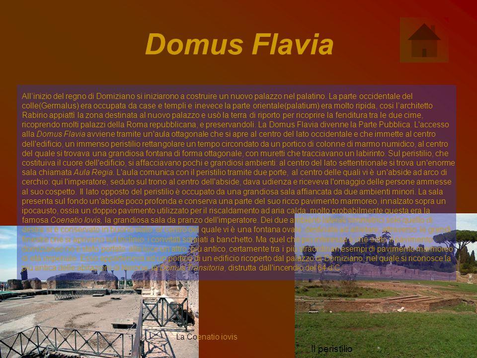 Domus Flavia All'inizio del regno di Domiziano si iniziarono a costruire un nuovo palazzo nel palatino.