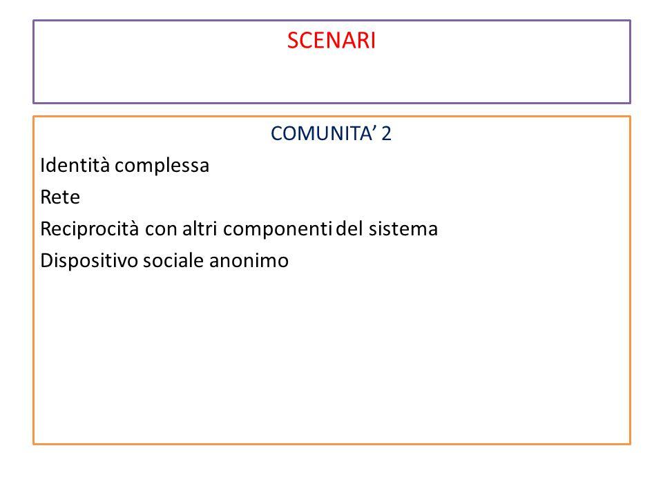 SCENARI COMUNITA' 2 Identità complessa Rete Reciprocità con altri componenti del sistema Dispositivo sociale anonimo
