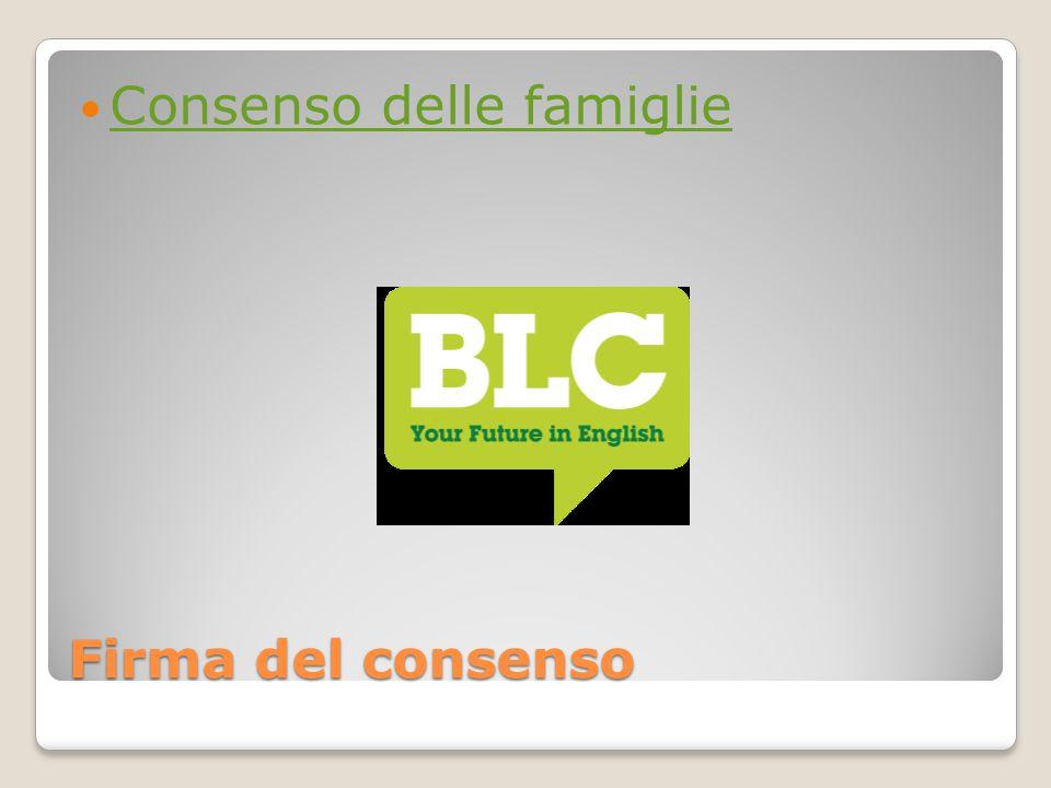 Firma del consenso Consenso delle famiglie