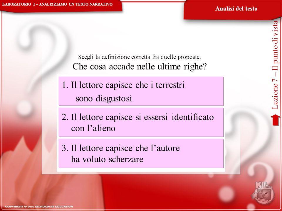Analisi del testo Lezione 7 – Il punto di vista Scegli la definizione corretta fra quelle proposte. Che cosa accade nelle ultime righe? 1. Il lettore