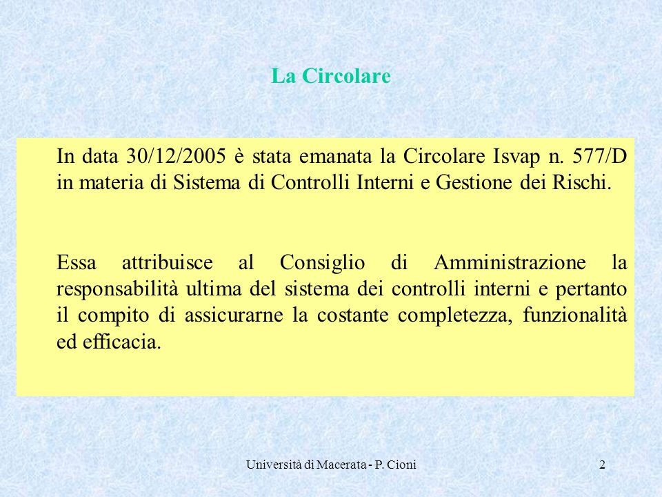 Università di Macerata - P. Cioni2 La Circolare In data 30/12/2005 è stata emanata la Circolare Isvap n. 577/D in materia di Sistema di Controlli Inte