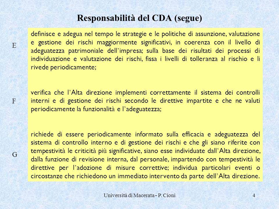 Università di Macerata - P. Cioni4 definisce e adegua nel tempo le strategie e le politiche di assunzione, valutazione e gestione dei rischi maggiorme