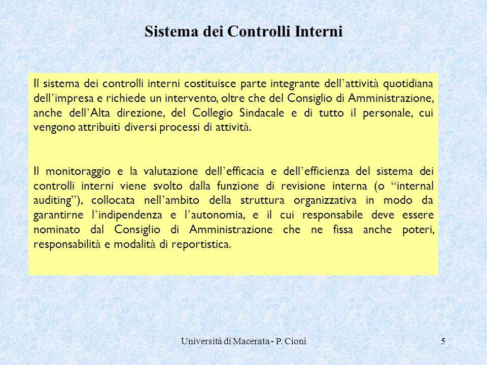 Università di Macerata - P. Cioni5 Il sistema dei controlli interni costituisce parte integrante dell ' attivit à quotidiana dell ' impresa e richiede