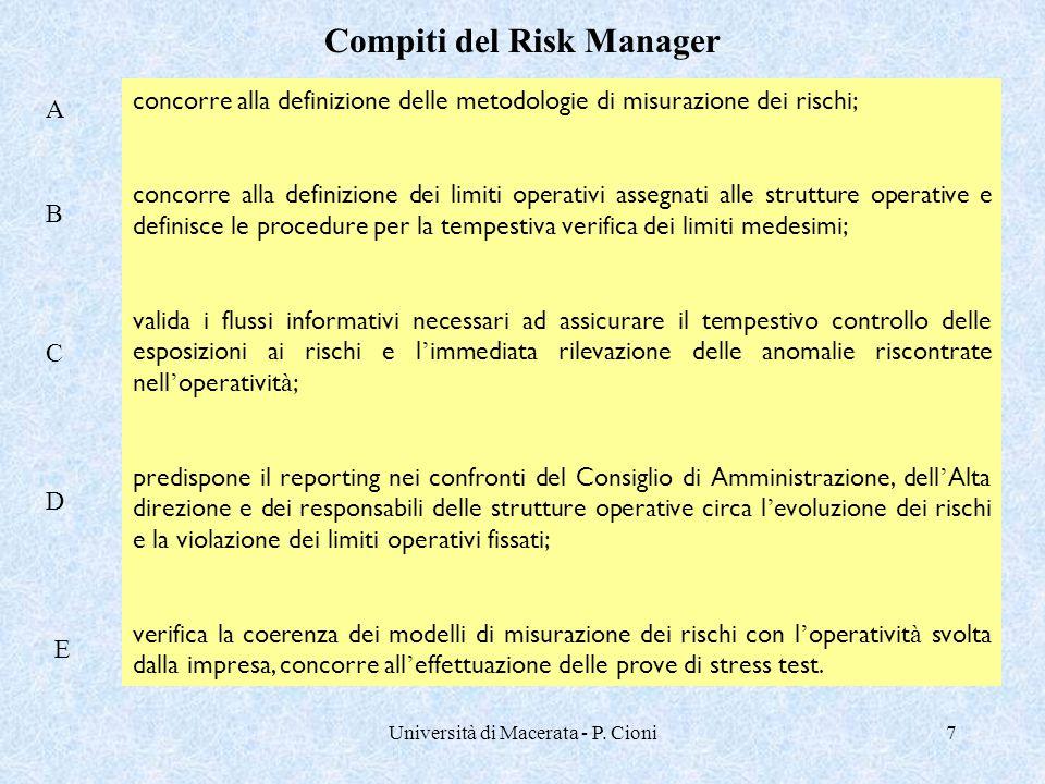 Università di Macerata - P. Cioni7 concorre alla definizione delle metodologie di misurazione dei rischi; concorre alla definizione dei limiti operati
