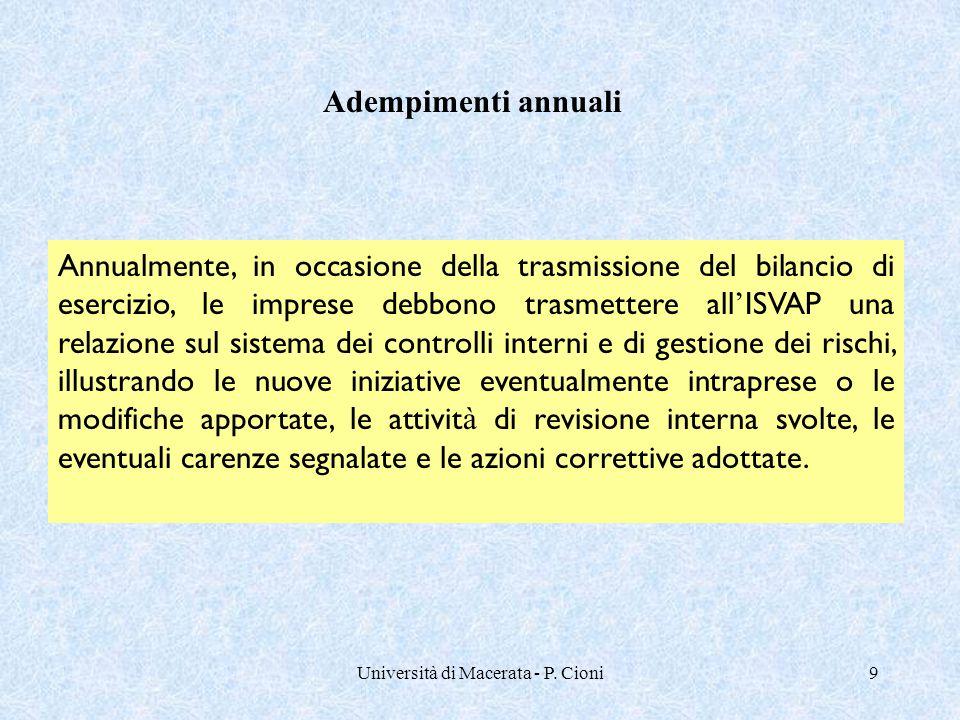 Università di Macerata - P. Cioni9 Annualmente, in occasione della trasmissione del bilancio di esercizio, le imprese debbono trasmettere all ' ISVAP