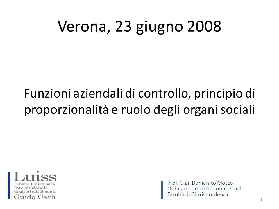 Verona, 23 giugno 2008 Funzioni aziendali di controllo, principio di proporzionalità e ruolo degli organi sociali 1 Prof.
