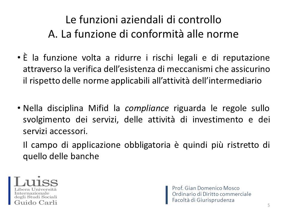 L'istituzione delle funzioni di controllo Conformità →Obbligatoria Gestione del rischio →Facoltativa Revisione →Facoltativa 16 Prof.