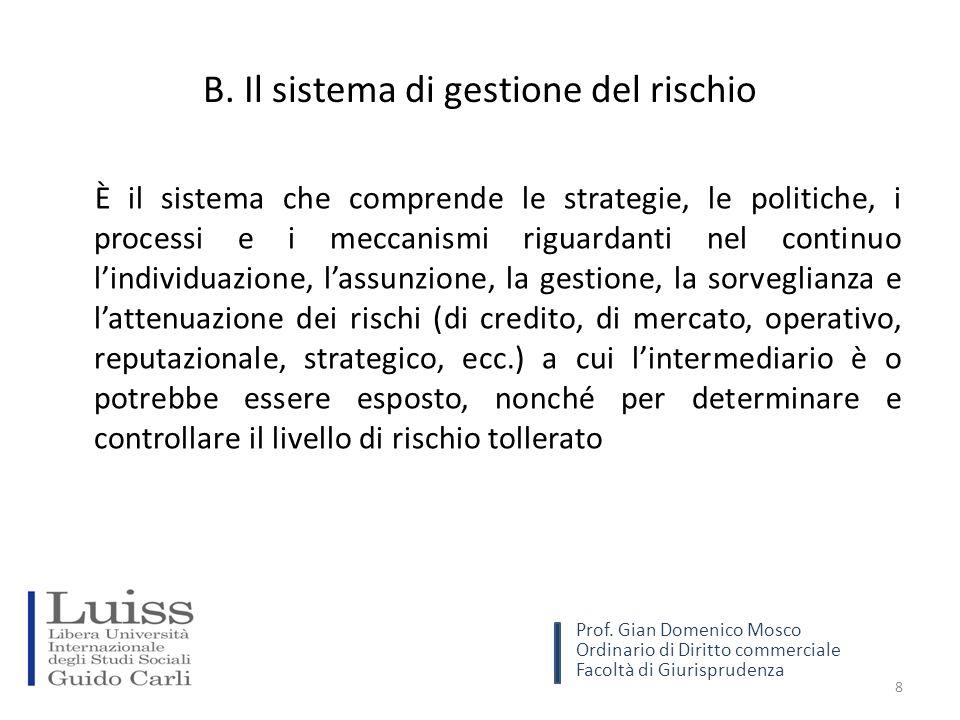 B. Il sistema di gestione del rischio È il sistema che comprende le strategie, le politiche, i processi e i meccanismi riguardanti nel continuo l'indi