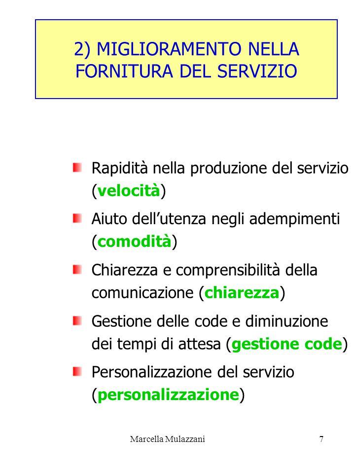 Marcella Mulazzani7 2) MIGLIORAMENTO NELLA FORNITURA DEL SERVIZIO Rapidità nella produzione del servizio (velocità) Aiuto dell'utenza negli adempimenti (comodità) Chiarezza e comprensibilità della comunicazione (chiarezza) Gestione delle code e diminuzione dei tempi di attesa (gestione code) Personalizzazione del servizio (personalizzazione)