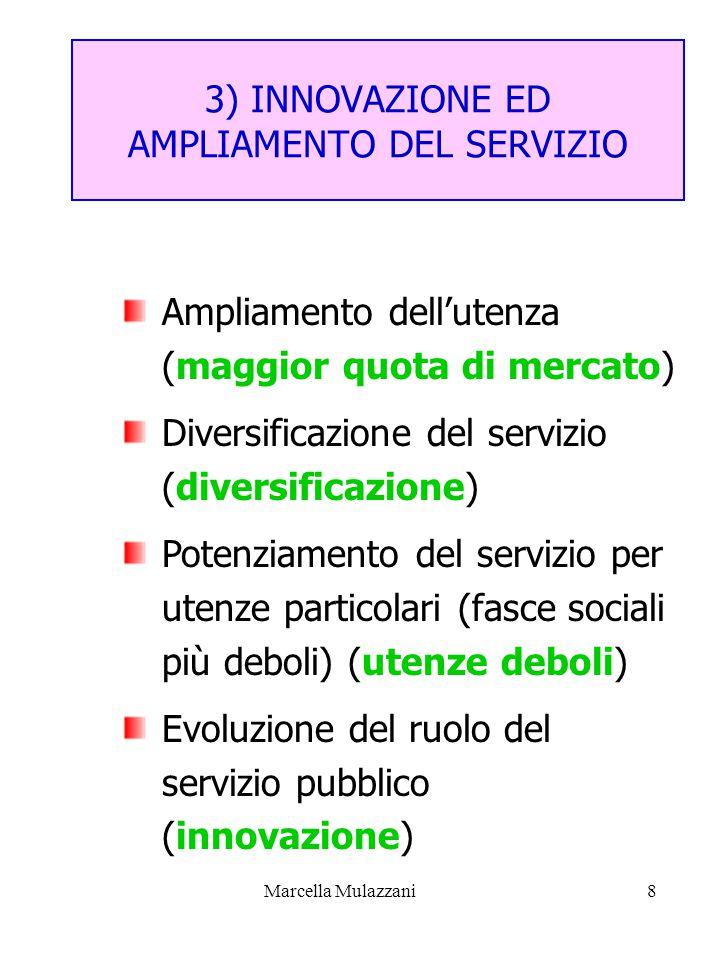 Marcella Mulazzani8 3) INNOVAZIONE ED AMPLIAMENTO DEL SERVIZIO Ampliamento dell'utenza (maggior quota di mercato) Diversificazione del servizio (diversificazione) Potenziamento del servizio per utenze particolari (fasce sociali più deboli) (utenze deboli) Evoluzione del ruolo del servizio pubblico (innovazione)