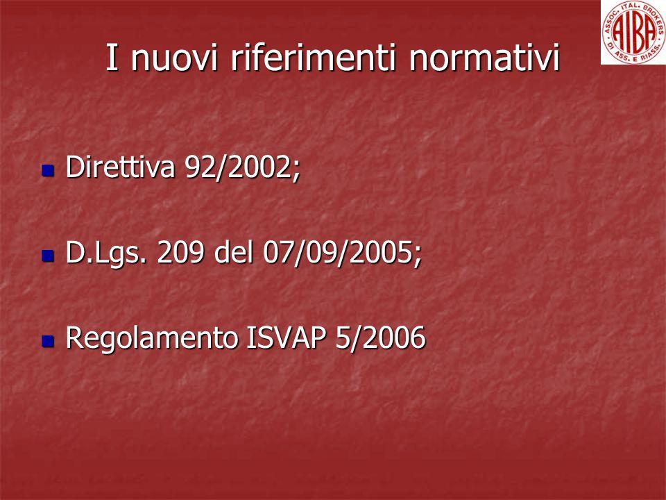 I nuovi riferimenti normativi Direttiva 92/2002; Direttiva 92/2002; D.Lgs. 209 del 07/09/2005; D.Lgs. 209 del 07/09/2005; Regolamento ISVAP 5/2006 Reg