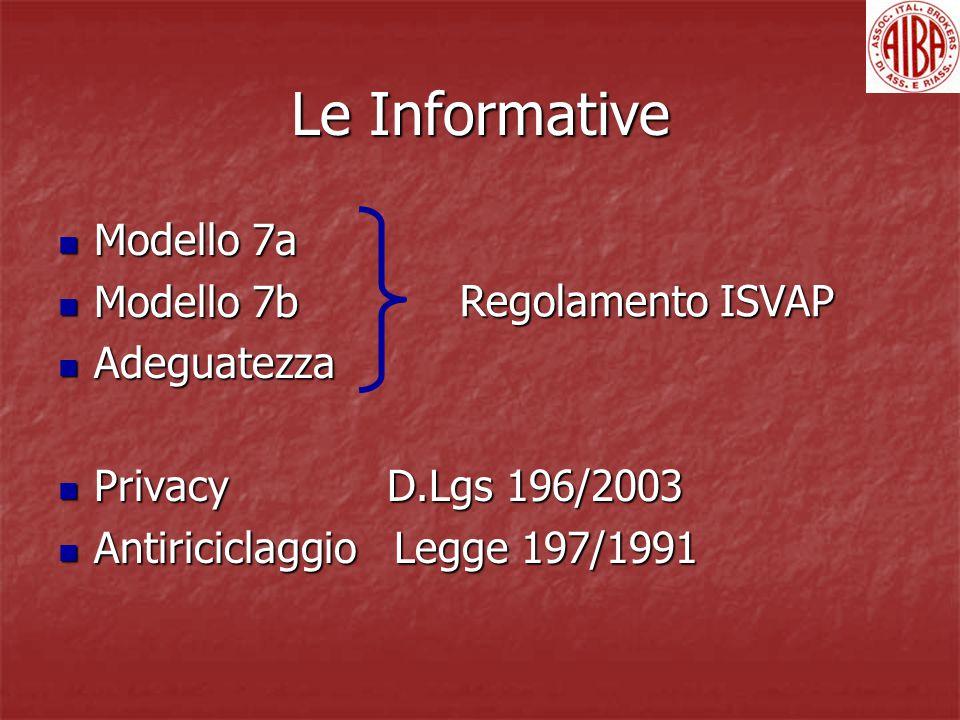 Le Informative Modello 7a Modello 7a Modello 7b Modello 7b Adeguatezza Adeguatezza Privacy D.Lgs 196/2003 Privacy D.Lgs 196/2003 Antiriciclaggio Legge 197/1991 Antiriciclaggio Legge 197/1991 Regolamento ISVAP