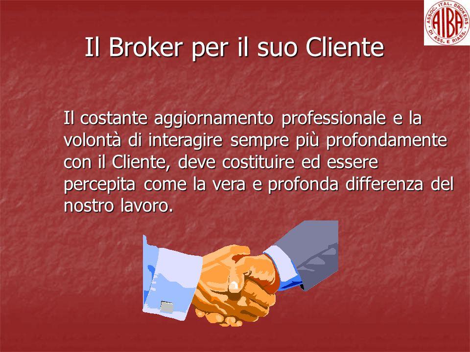 Il Broker per il suo Cliente Il costante aggiornamento professionale e la volontà di interagire sempre più profondamente con il Cliente, deve costituire ed essere percepita come la vera e profonda differenza del nostro lavoro.