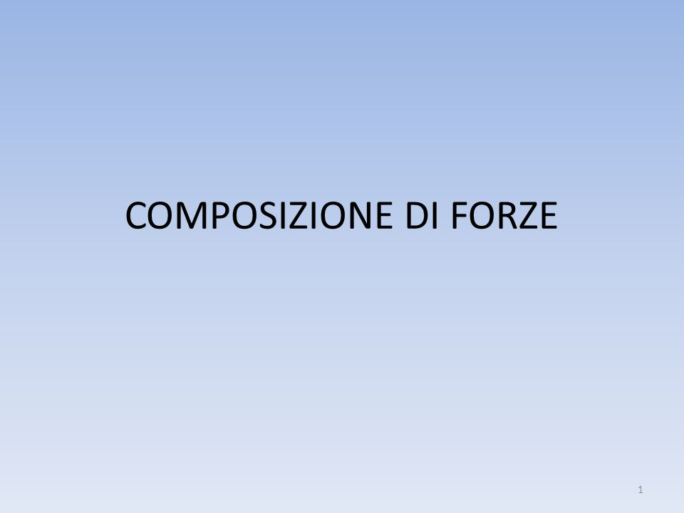 COMPOSIZIONE DI FORZE 1