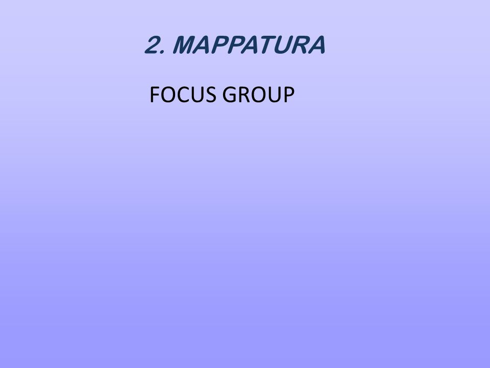 2. MAPPATURA FOCUS GROUP