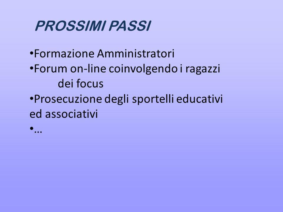 PROSSIMI PASSI Formazione Amministratori Forum on-line coinvolgendo i ragazzi dei focus Prosecuzione degli sportelli educativi ed associativi …
