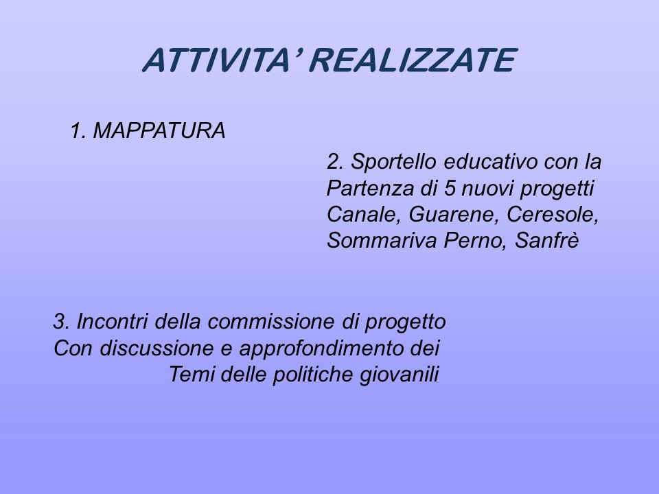 ATTIVITA' REALIZZATE 3.