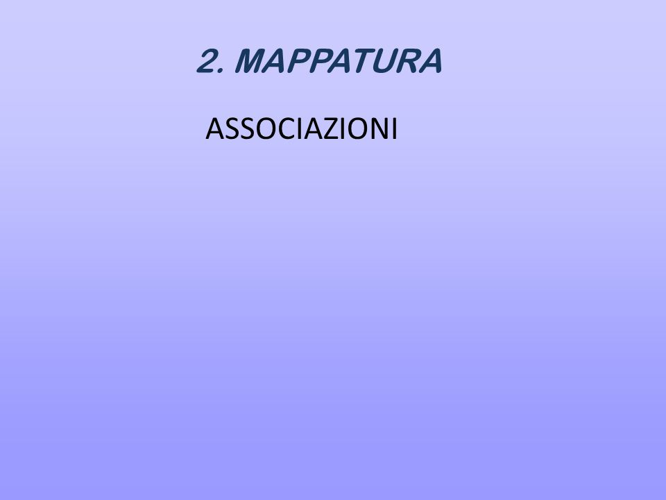 2. MAPPATURA ASSOCIAZIONI