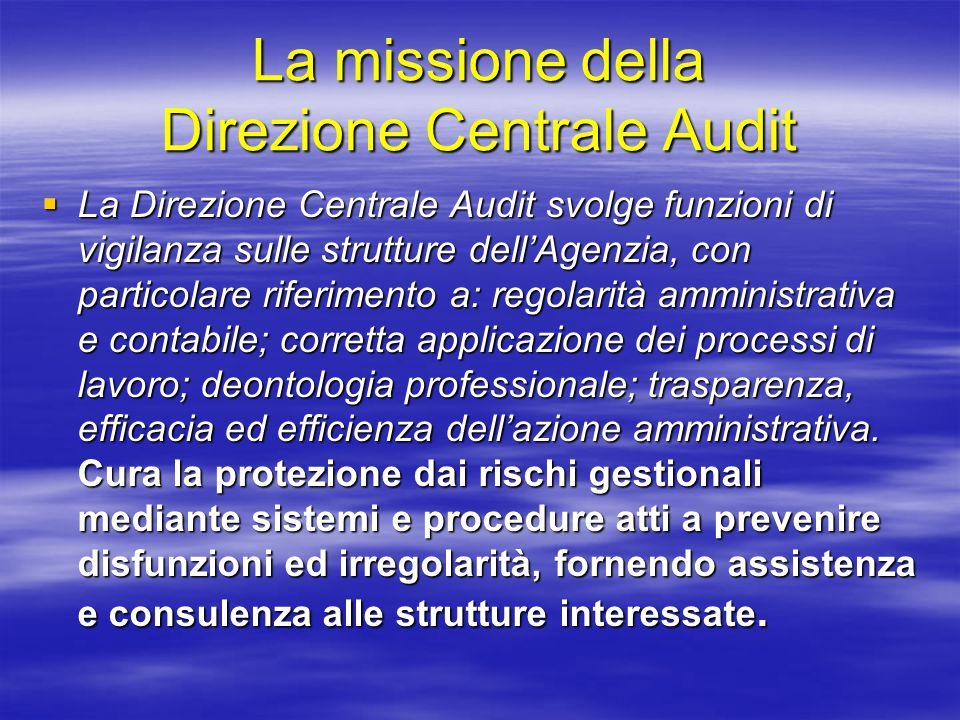 La missione della Direzione Centrale Audit  La Direzione Centrale Audit svolge funzioni di vigilanza sulle strutture dell'Agenzia, con particolare riferimento a: regolarità amministrativa e contabile; corretta applicazione dei processi di lavoro; deontologia professionale; trasparenza, efficacia ed efficienza dell'azione amministrativa.