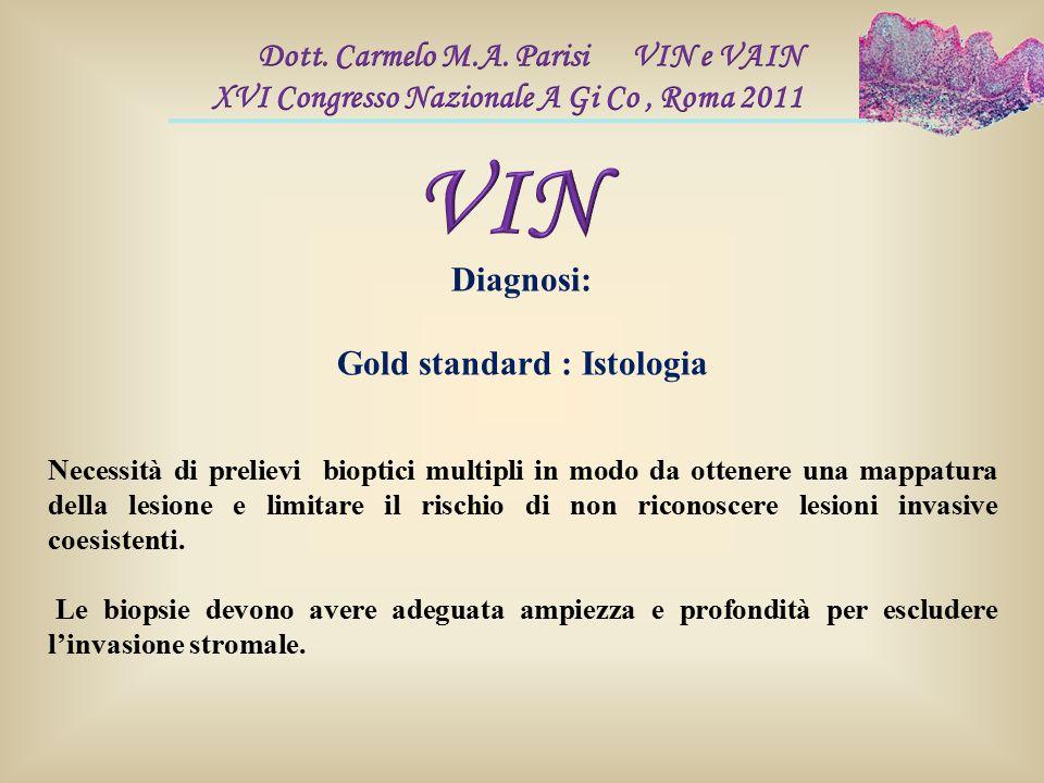 Diagnosi: Gold standard : Istologia Necessità di prelievi bioptici multipli in modo da ottenere una mappatura della lesione e limitare il rischio di n