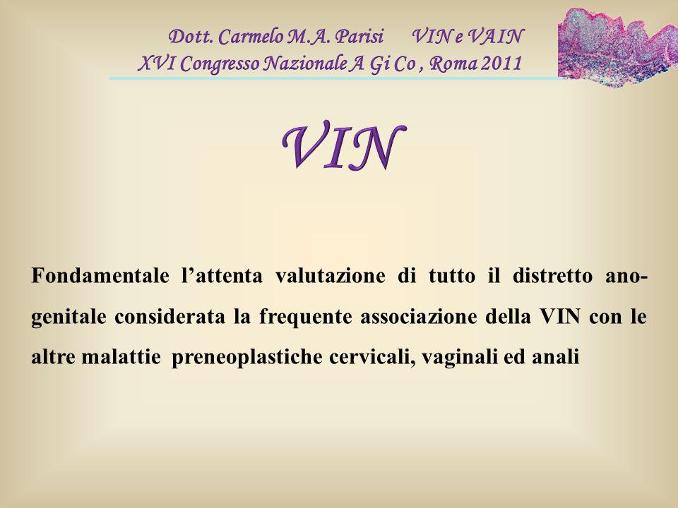 Fondamentale l'attenta valutazione di tutto il distretto ano- genitale considerata la frequente associazione della VIN con le altre malattie preneopla