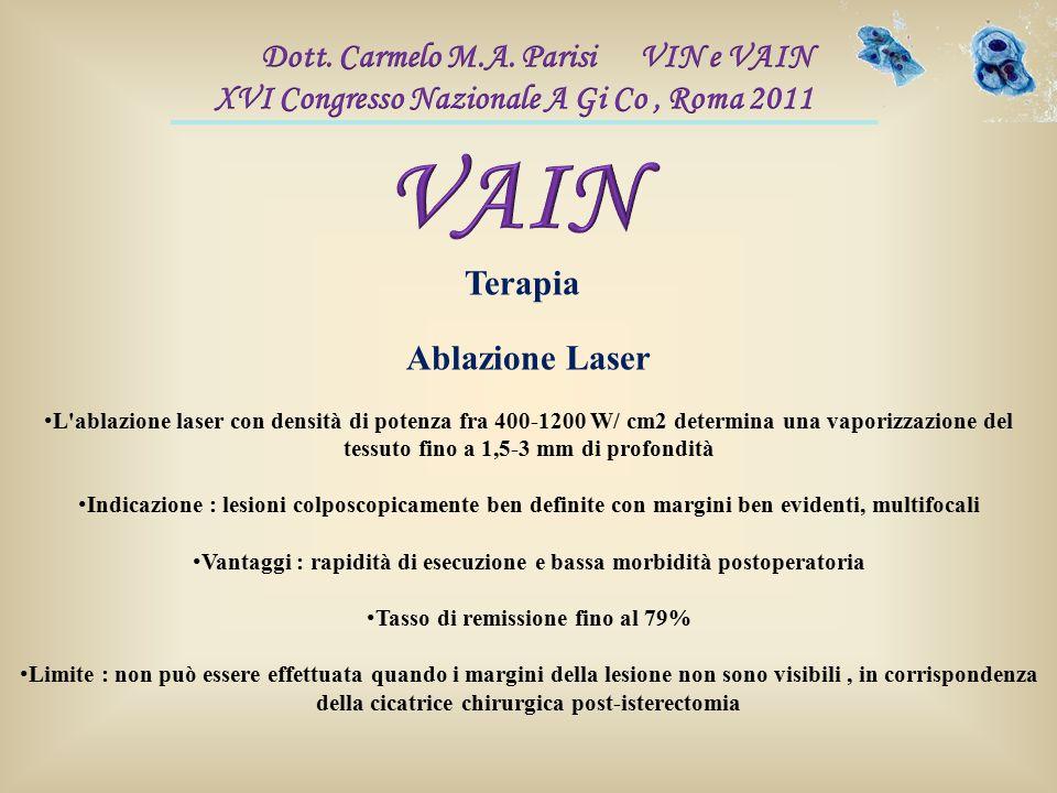 Terapia Ablazione Laser L'ablazione laser con densità di potenza fra 400-1200 W/ cm2 determina una vaporizzazione del tessuto fino a 1,5-3 mm di profo