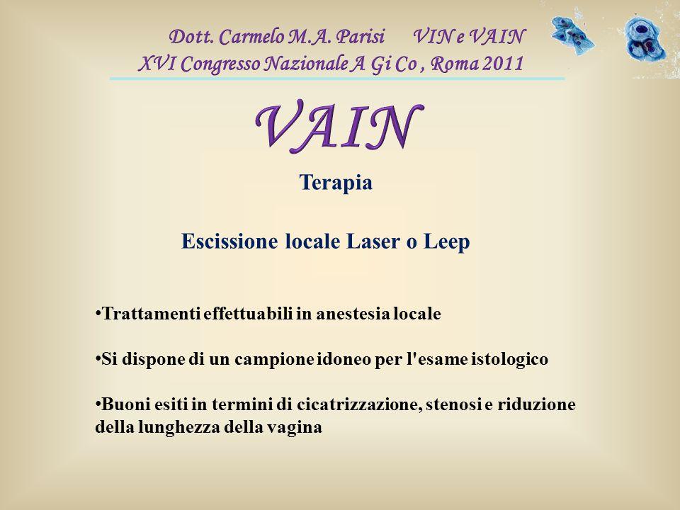 Terapia Trattamenti effettuabili in anestesia locale Si dispone di un campione idoneo per l'esame istologico Buoni esiti in termini di cicatrizzazione