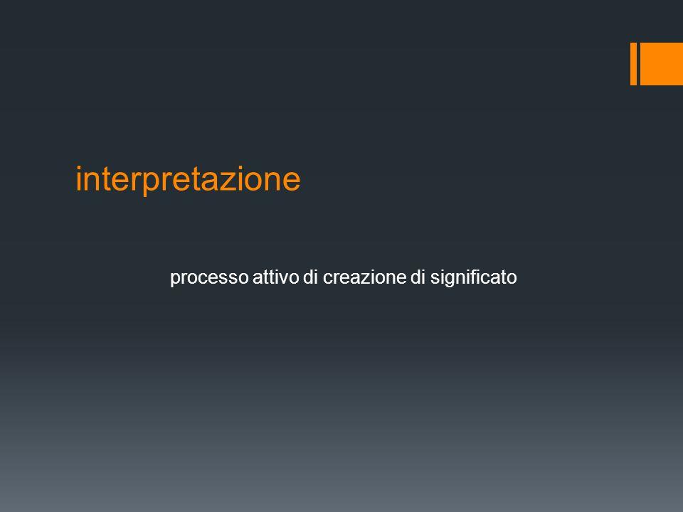 interpretazione processo attivo di creazione di significato