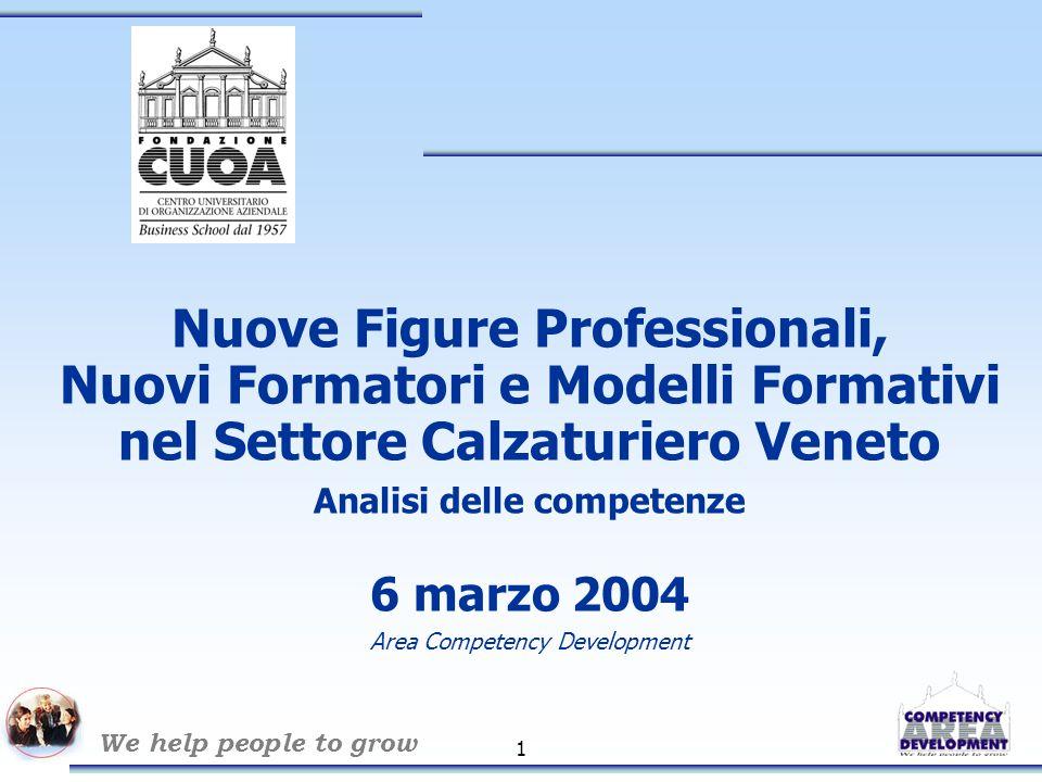 We help people to grow 1 Nuove Figure Professionali, Nuovi Formatori e Modelli Formativi nel Settore Calzaturiero Veneto Analisi delle competenze 6 marzo 2004 Area Competency Development