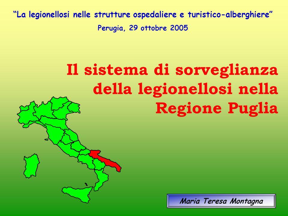 """Il sistema di sorveglianza della legionellosi nella Regione Puglia Maria Teresa Montagna """"La legionellosi nelle strutture ospedaliere e turistico-albe"""